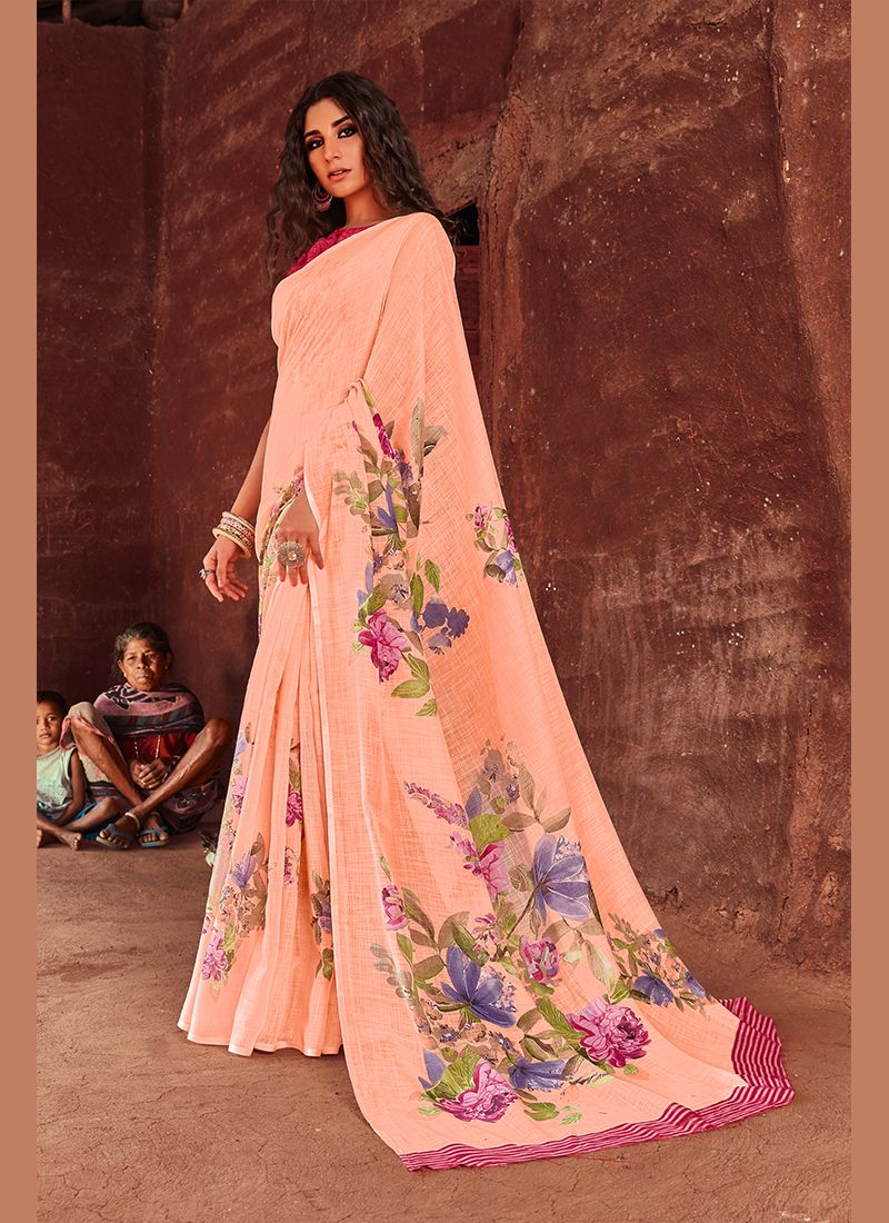 Casual Saree Printed Linen in Peach