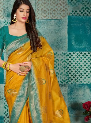 Casual Saree Weaving Banarasi Silk in Mustard