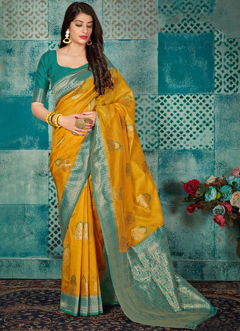 Casual Saree Weaving Banarasi Silk in Mustard