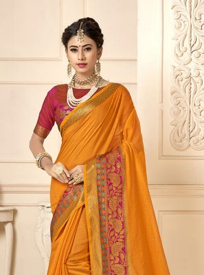 Casual Saree Woven Cotton Silk in Mustard