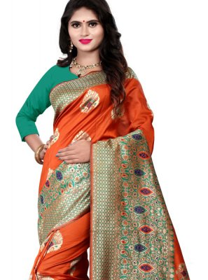 Casual Saree Woven Cotton Silk in Orange