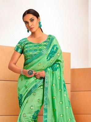 Chanderi Abstract Print Green Printed Saree