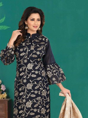 Chanderi Black Churidar Designer Suit