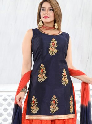 Chanderi Blue Embroidered Designer Patiala Suit