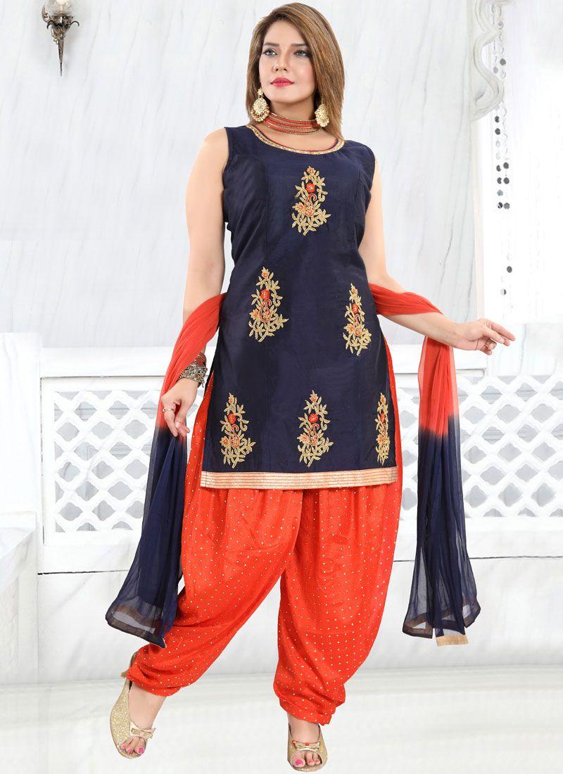 Chanderi Blue Embroidered Designer Patiala Suit
