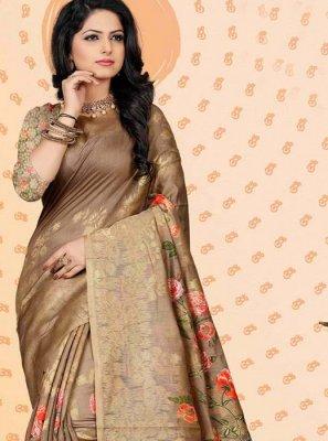 Chanderi Brown Digital Print Traditional Saree