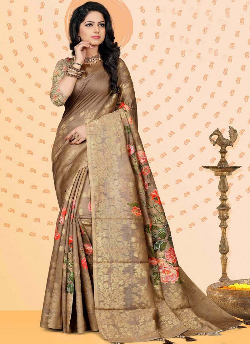 Chanderi Brown Digital Print Traditional Saree