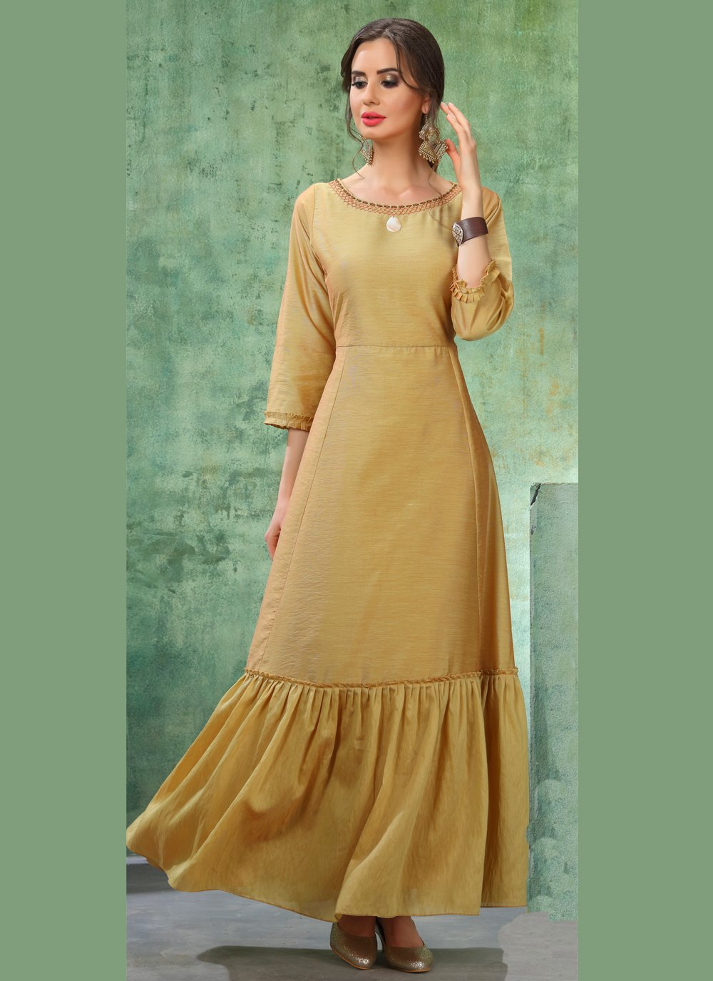 Chanderi Brown Embroidered Designer Kurti