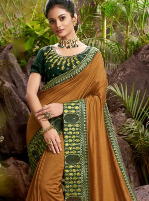 Chanderi Brown Embroidered Designer Saree