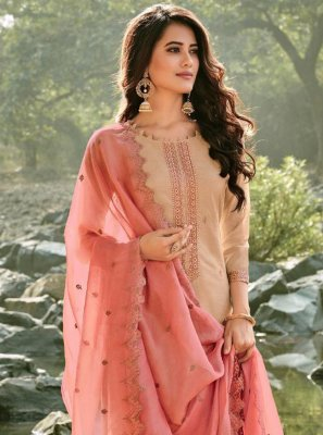 Chanderi Brown Embroidered Trendy Suit