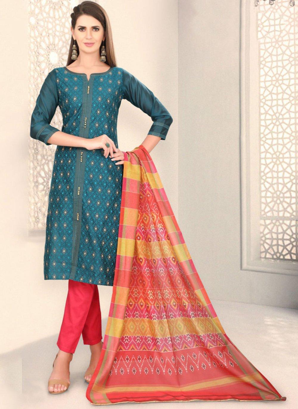 Chanderi Churidar Designer Suit in Teal