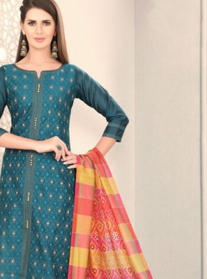 Chanderi Churidar Designer Suit in Teal