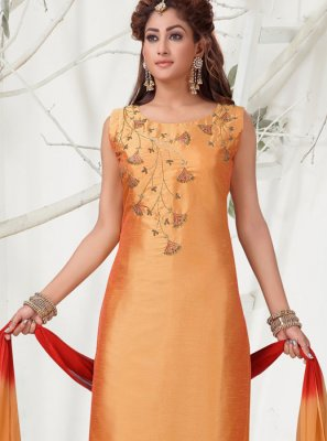 Chanderi Churidar Salwar Suit in Orange