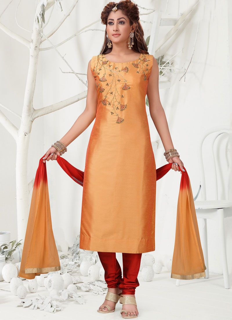 Chanderi Churidar Salwar Suit in Orange