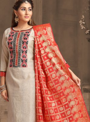 Chanderi Cotton Beige Trendy Churidar Salwar Kameez