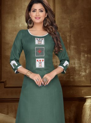 Chanderi Cotton Embroidered Casual Kurti in Green