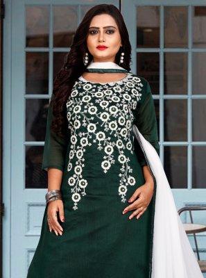 Chanderi Cotton Embroidered Designer Suit in Green