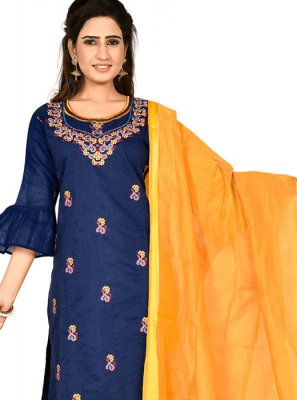Chanderi Cotton Embroidered Navy Blue Designer Salwar Kameez