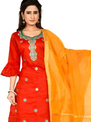 Chanderi Cotton Embroidered Red Churidar Salwar Kameez