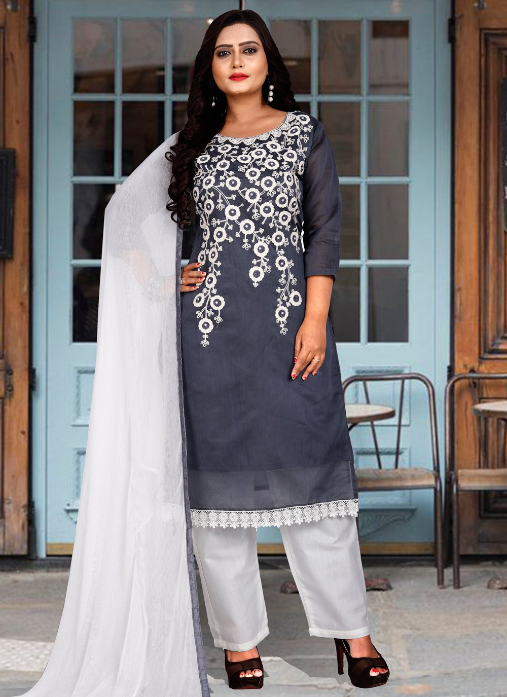 Chanderi Cotton Embroidered Salwar Suit in Grey