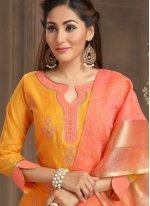 Chanderi Cotton Festival Trendy Churidar Suit