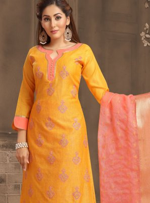 Chanderi Cotton Festival Trendy Churidar Suit