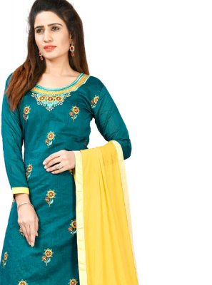 Chanderi Cotton Green Salwar Suit