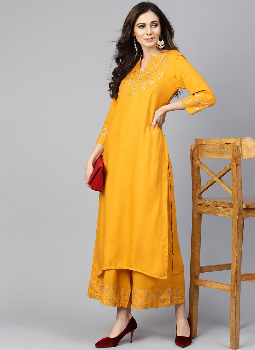 Chanderi Cotton Mustard Designer Kurti