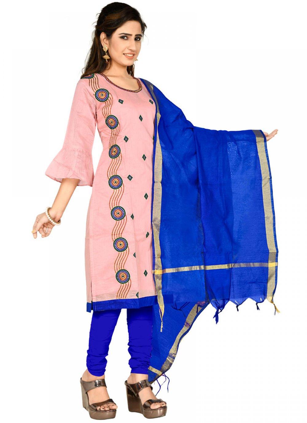 Chanderi Cotton Pink Salwar Kameez
