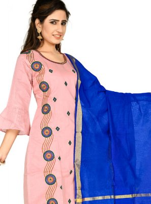 Chanderi Cotton Pink Salwar Kameez