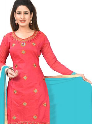 Chanderi Cotton Red Embroidered Churidar Salwar Suit