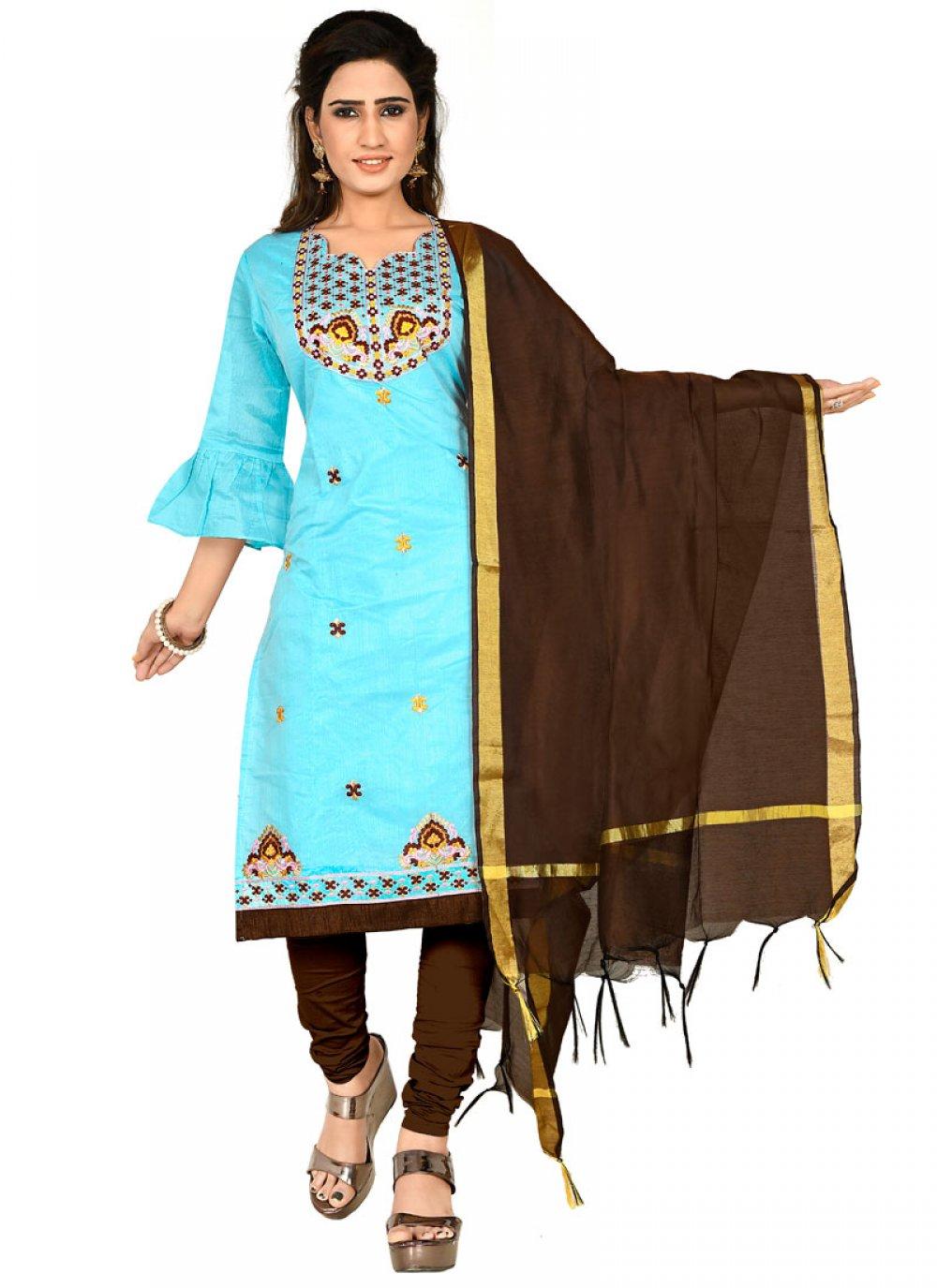 Chanderi Cotton Thread Aqua Blue Designer Salwar Suit
