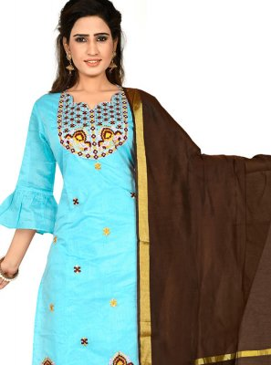 Chanderi Cotton Thread Aqua Blue Designer Salwar Suit