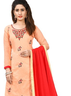 Chanderi Cotton Thread Designer Salwar Kameez in Peach