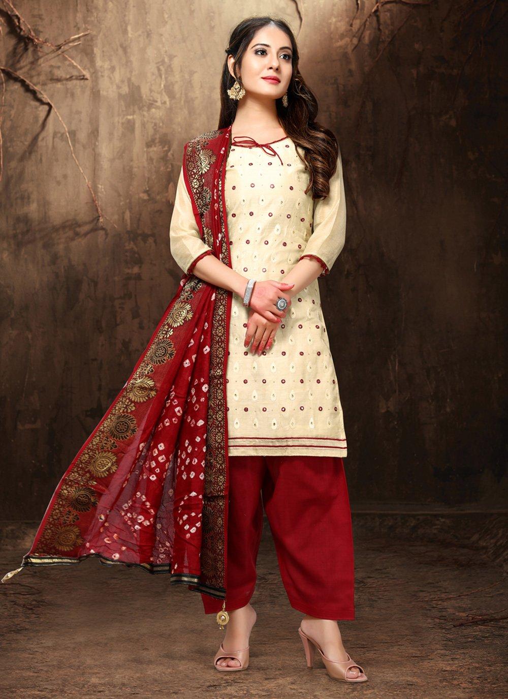Chanderi Cream Embroidered Salwar Suit