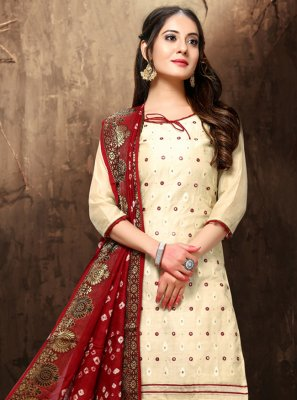 Chanderi Cream Embroidered Salwar Suit