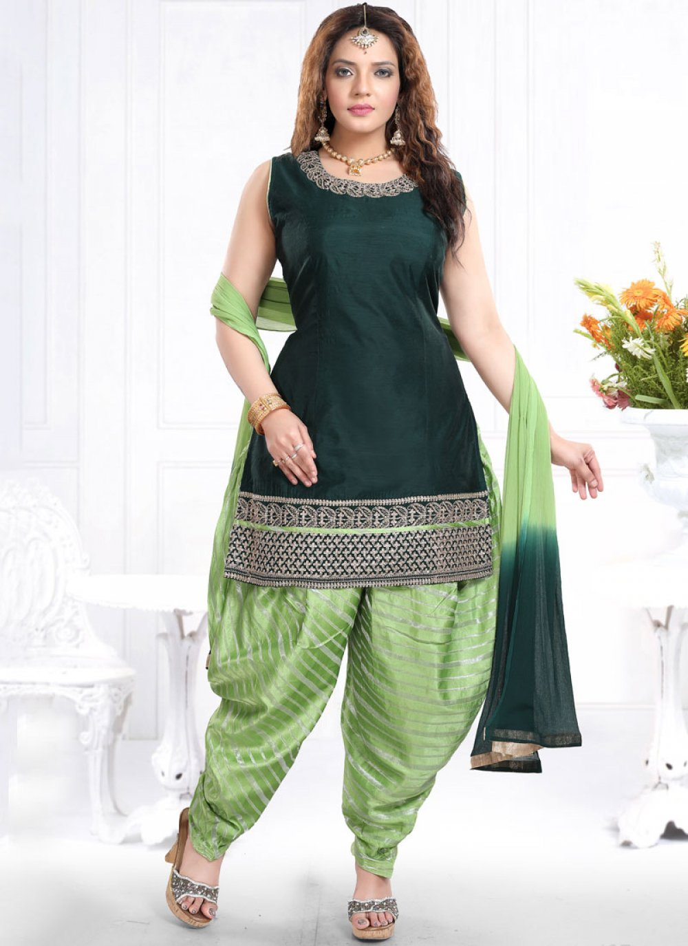 Chanderi Designer Patiala Suit