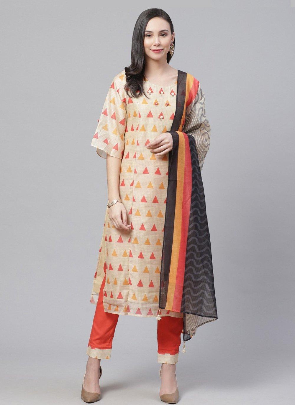 Chanderi Digital Print Designer Salwar Kameez in Multi Colour