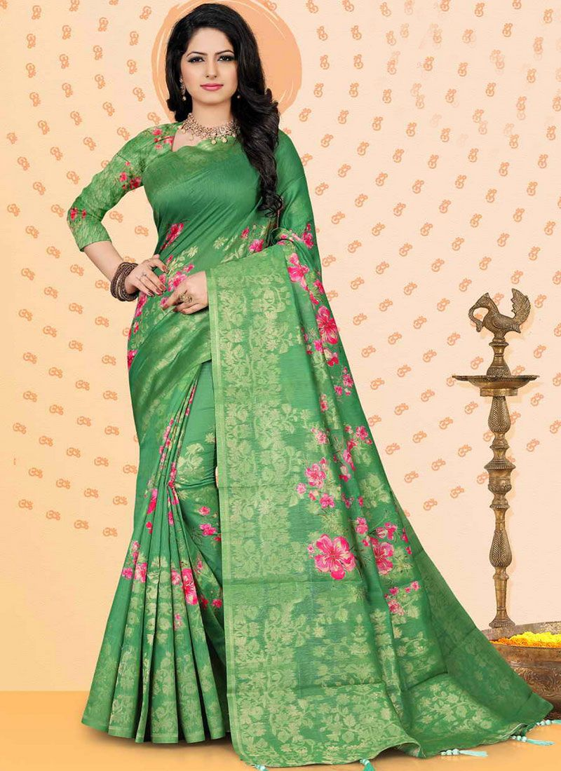 Chanderi Digital Print Traditional Designer Saree in Sea Green