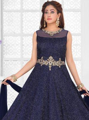Chanderi Embroidered Blue Salwar Kameez