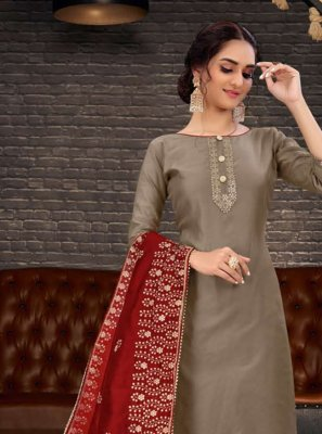 Chanderi Embroidered Brown Salwar Kameez