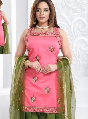 Chanderi Embroidered Designer Patiala Suit