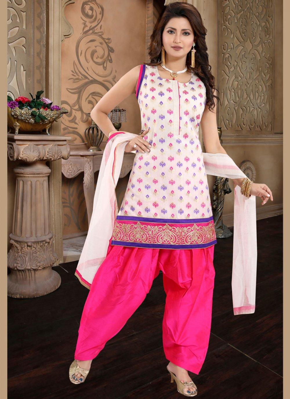 Chanderi Embroidered Designer Patiala Suit