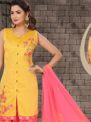 Chanderi Embroidered Designer Salwar Kameez in Yellow