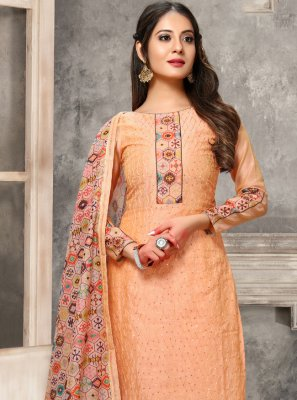 Chanderi Embroidered Designer Straight Salwar Suit in Peach
