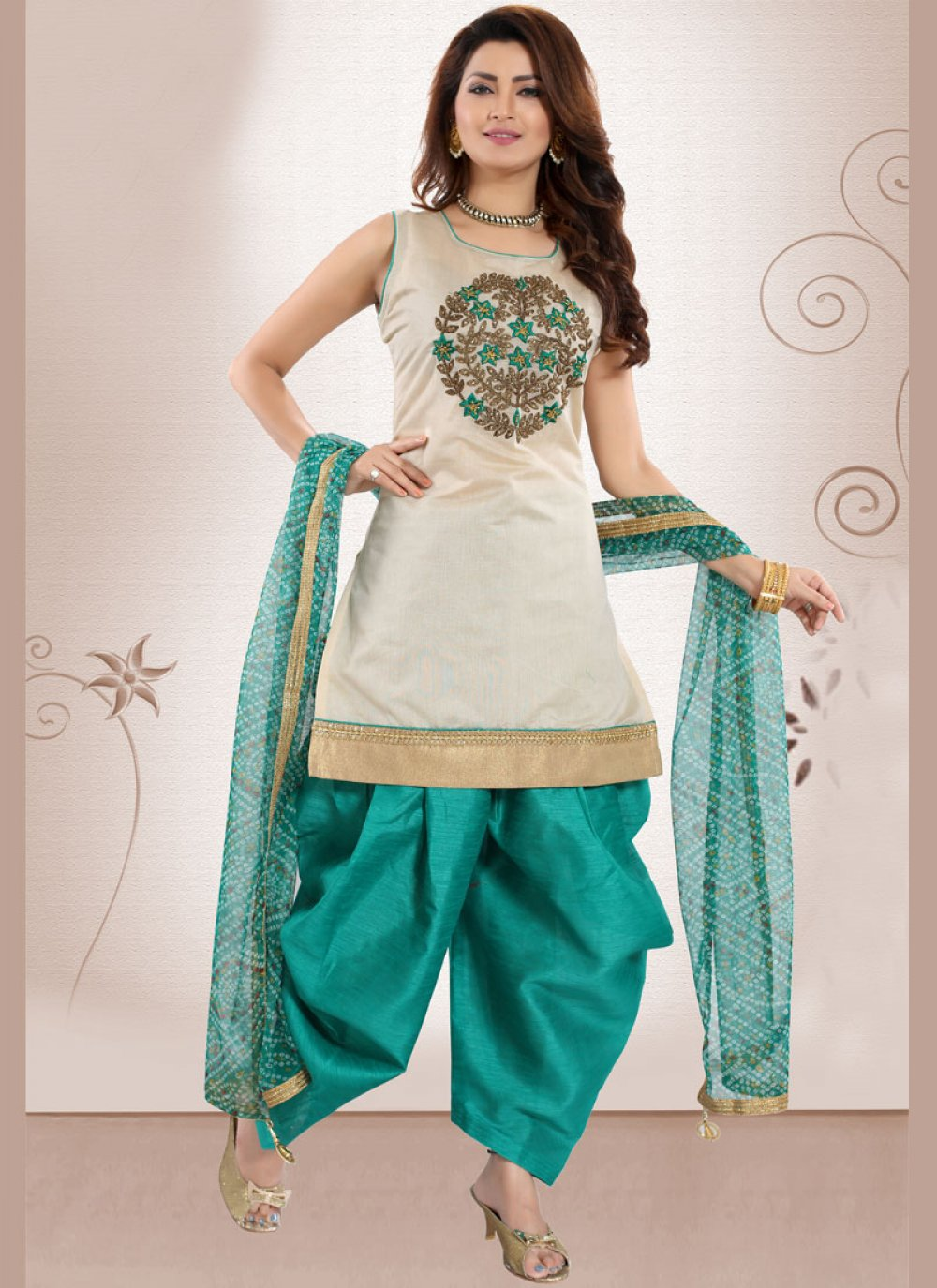 Chanderi Embroidered Green Designer Patiala Suit