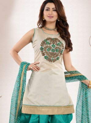 Chanderi Embroidered Green Designer Patiala Suit