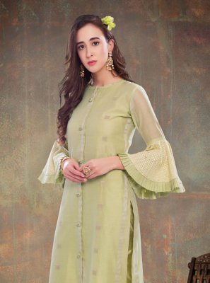 Chanderi Embroidered Green Party Wear Kurti