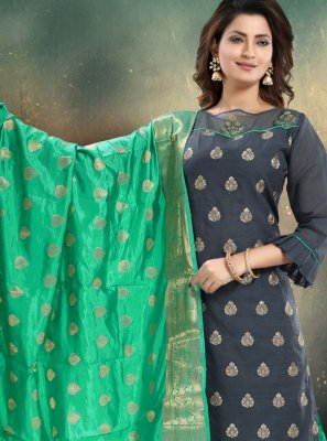 Chanderi Embroidered Grey Palazzo Salwar Suit