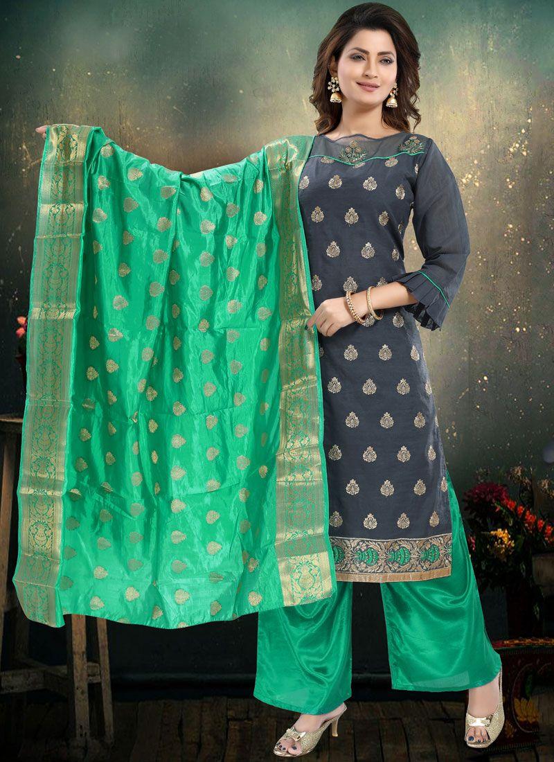 Chanderi Embroidered Grey Palazzo Salwar Suit